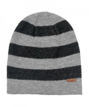 lethmik Fleece Lined Beanie Hat Mens Winter Solid Color Warm Knit Ski Skull Cap - Stripes Light Grey - CT186H0HZ2Y