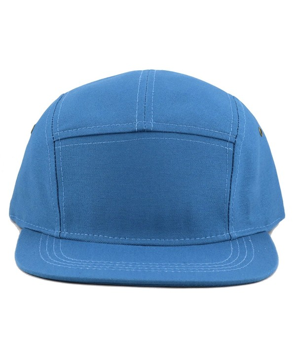 THE HAT DEPOT Cotton Twill 5 Panel Flat Brim Genuine Leather Brass Biker Board Cap - Teal - CN12F1LSFCJ