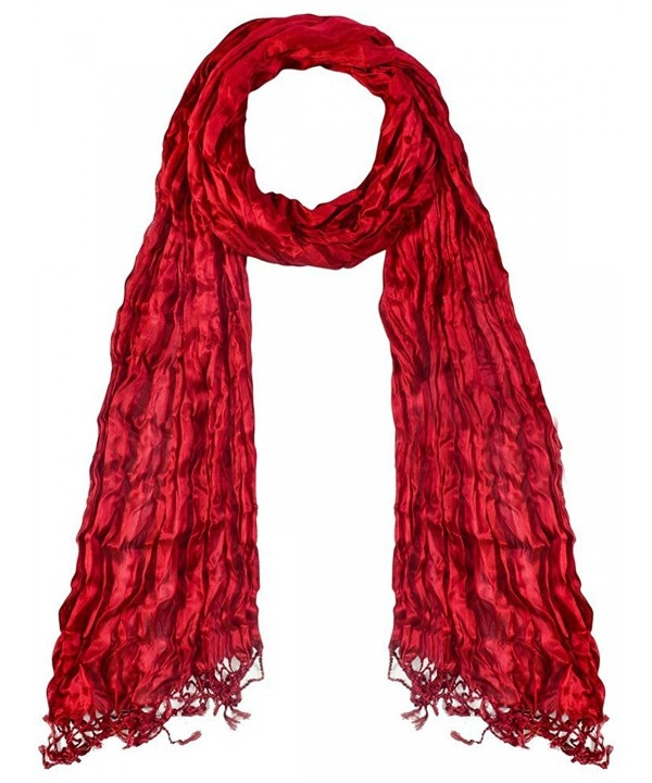 Fashion scarves for women - Solid color fashion scarf - Crinkle scarf with fringes - Red - CN17YE8SQ77