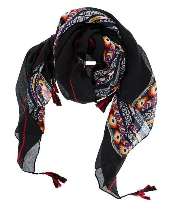 7 Seas Republic Women's Bohemian Style Scarf with Tassels - Black - CZ17Z2C8QYQ