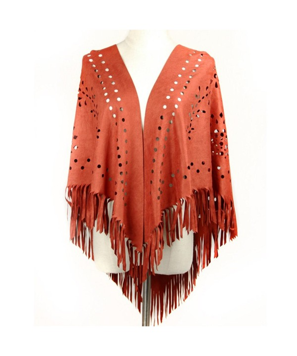 Dikoaina Womens Suede Laser Cut Fringed Cape Shawl Wrap Scarf Small Piece 10 Colors - Red - C217YGLDCTQ