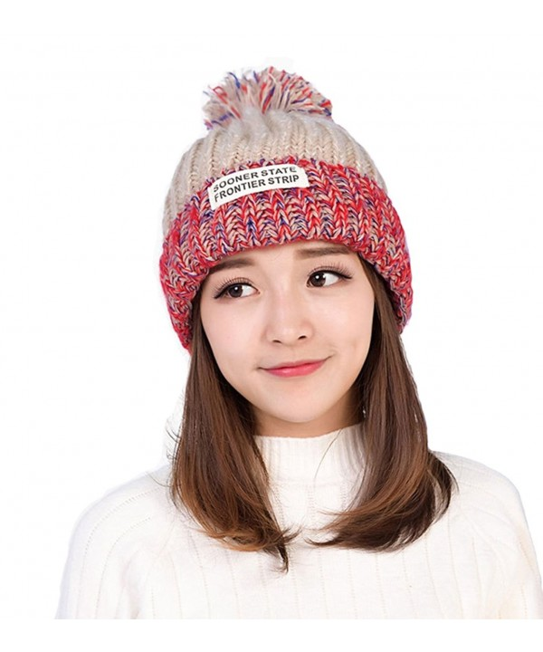 Smilelve Womens Beanie Hats With Pom Pom Rainbow Knit - Khaki - CY188SY073S