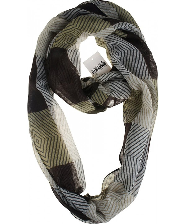 Vivian & Vincent Soft Light Elegant Plaid Checked Sheer Infinity Scarf - C4 - CB186X9YQ5X