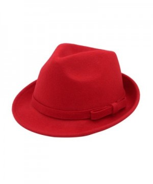 Women's Deluxe 100% Wool Solid Color Fedora Hat - Different Colors - Red - CJ1260W212X
