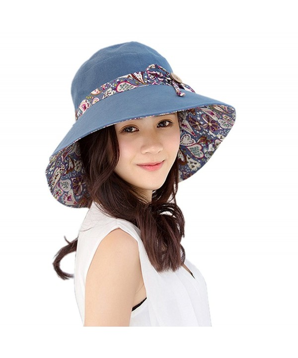 Womens Sun Hat Foldable Reversible Beach Hat Visor Cap Wide Brim UPF 50+ - Blue - CN1829YX8ZO
