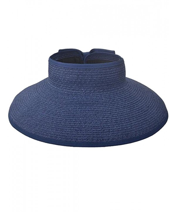 Zgllywr Women UPF 50+Packable Crushable Roll Up Wide Brim Sun Visor Beach Straw Hat - Navy - CA17YWHHKAS