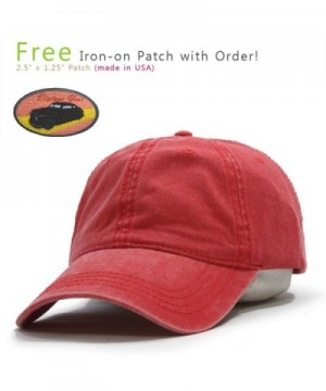 Vintage Washed Dyed Cotton Twill Low Profile Adjustable Baseball Cap - Red - CF12EFFZMYB