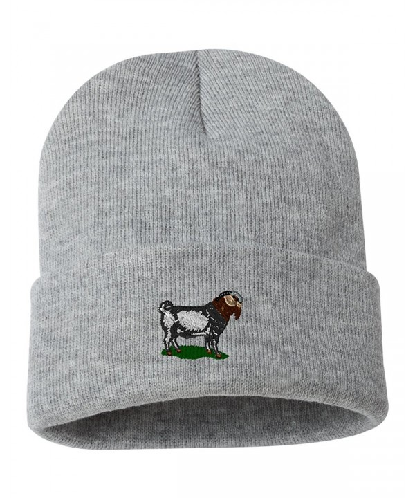 Boer Goat Custom Personalized Embroidery Embroidered Beanie - Silver - C812NFEC7TE
