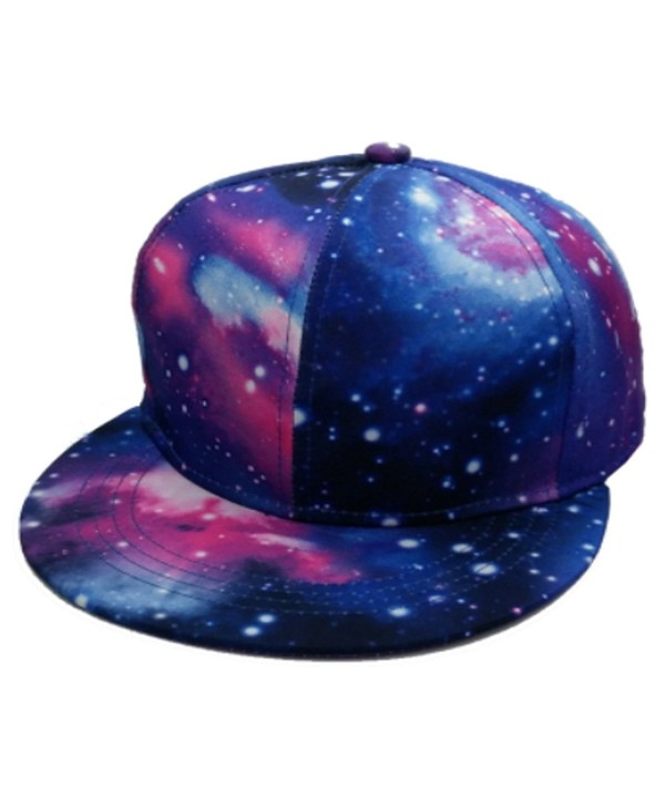 Galaxy Space Sky Snapback Pair Fashion Embroidered Snapback Caps Adjust Hat - Black & Purple - CQ18369SI2N