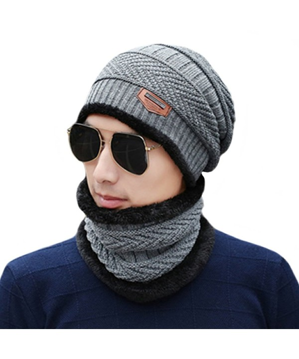 Unisex Winter Slouchy Beanie Hat Scarf Set Knitted Neck Warmers Gaiters Skull Caps - Gray - CB187IQMODZ