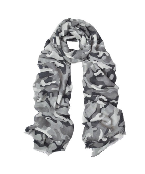 IvyFlair Soft Lightweight Unique Camouflage Patterned Scarf Shawl Wrap - Grey - C8182A4MHSI
