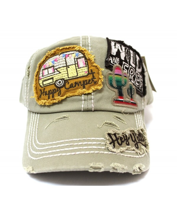 CAPS 'N VINTAGE Khaki Y'all- Happy Camper- Wild Free Multi-Patch Embroidered Adjustable Cap - CP17Z58U7IN