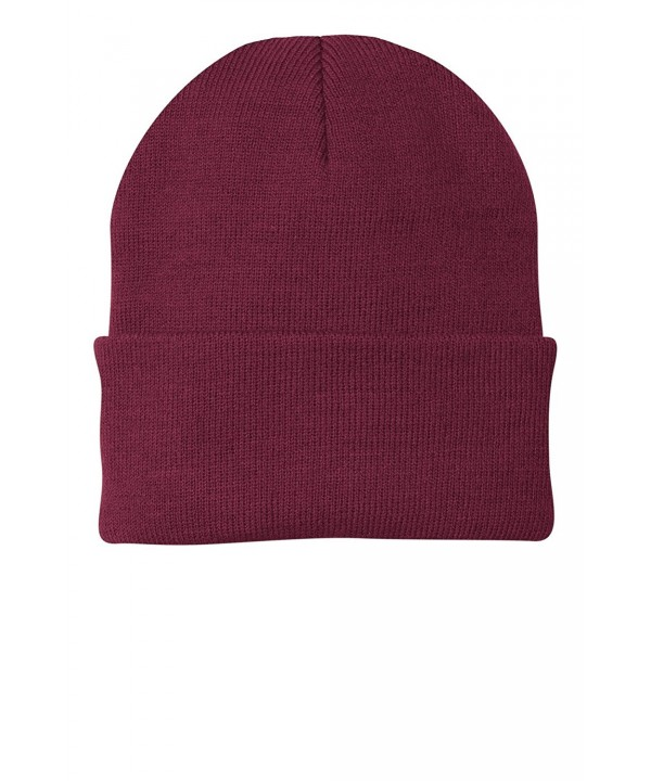 Port & Company Men's Knit Cap - Maroon - C7114V1UX9J