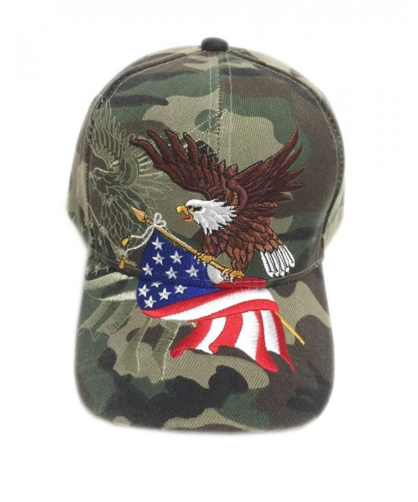 Aesthetinc Patriotic American Eagle and American Flag Baseball Cap USA 3D Embroidery - Military Camo - CC120061ZMR