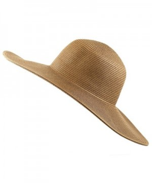 The Hat Depot Women's Large Wide Brim Floppy Beach Sun Visor Shade Straw Hat Cap - Brown - CB12HTUPE5L