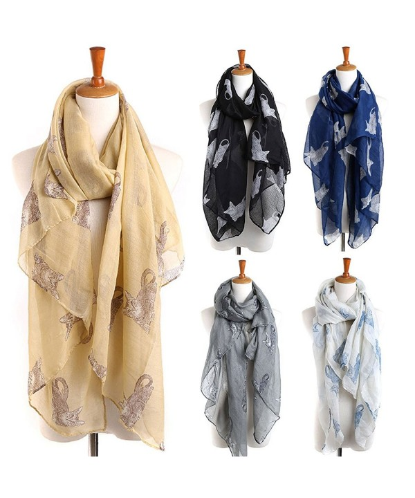 Infinity Scarfs for Women- LIVEBOX Multicolor Voile Long Scarf Lightweight Soft Shawl Warp (Cat Pattern) - Black - C61886TGTLK