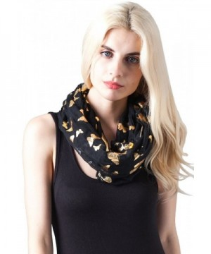 MissShorthair Lightweight Metallic Scarfs for Women with Gold Butterfly Print - Black - C911UHNBRH7