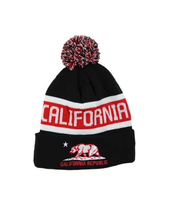 California Republic Fleece Lined Beanie With Pom Pom(More colors) - Black/Red - CV129KD3PDX
