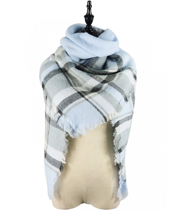 Zando Blanket Scarves Tartan Winter - Blue White Winter Scarf - CQ1863EA0XD