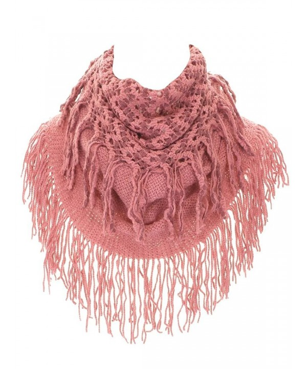 Women's Knit Tubular Fringed Infinity Scarf - Dusty Rose - CF11OGB2OJV