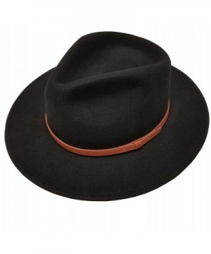 Men's 100% Crush-able Wool Felt Outback Leather Band Wide Fedora Hats With Gift Box - Black - C212N8TH5OF