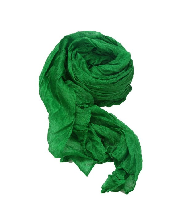DDLBiz Women Cotton Long Soft Crinkle Scarf Wrap Shawl Candy Colors - Green - CA12NGBQNT9
