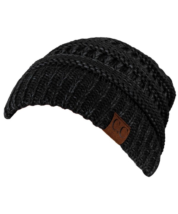 Funky Junque's C.C. Trendy Warm Chunky Soft Marled Cable Knit Slouchy Beanie - Black (23) - CF125MC6OWP