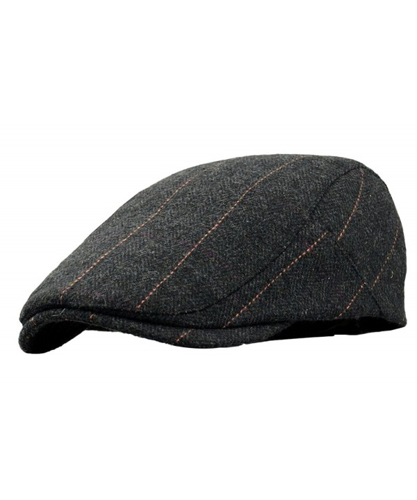 SportsWell Men's Classic Wool Cabbie Driving duckbill Hat IVY Flat Cap newsboy Hat - Black - CT18035D9W8