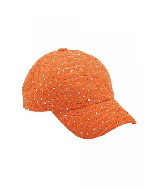 Glitzy Game Crystal Sequin Trim Women's Adjustable Glitter Baseball Cap ORANGE - CX11U7YIQB1