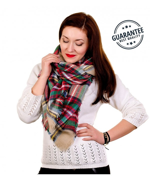 Women Plaid Blanket Tartan Wrap Stylish Warm Pashmina Scarfs for Women Oversized Shawl Cape Poncho NON-ITCHY - CY189RHE9UT