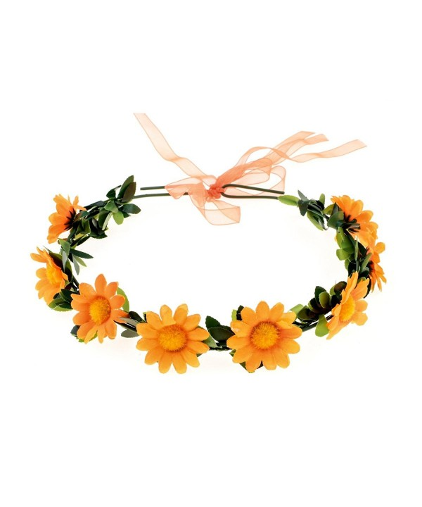 RoyaLily Daisy Flower Hair Wreath Boho Headband Crown Festival Wedding Sunflower Garland - Orange - C8186SAHU4Q