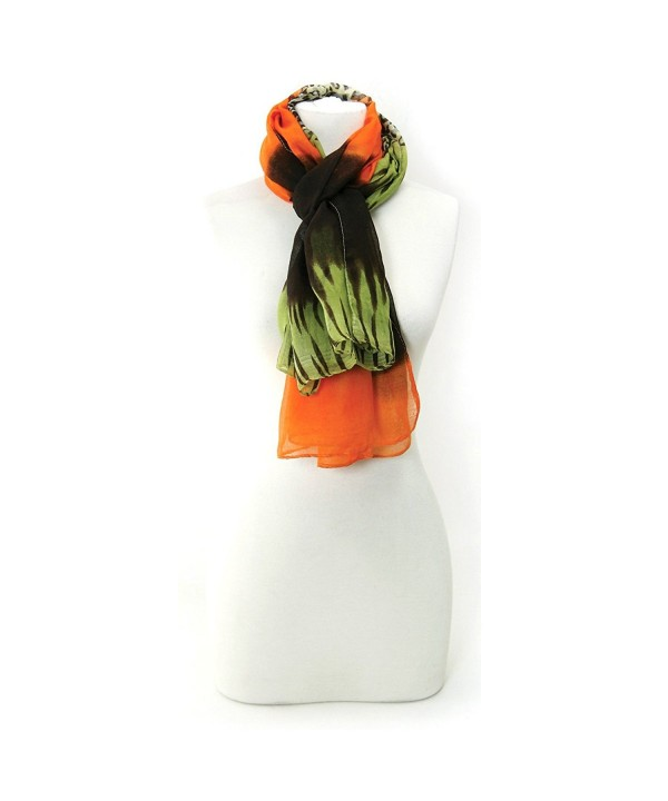 Multi-Print Scarf with Leopard Print and Solid Designs - Orange - CC11G3PTSBF
