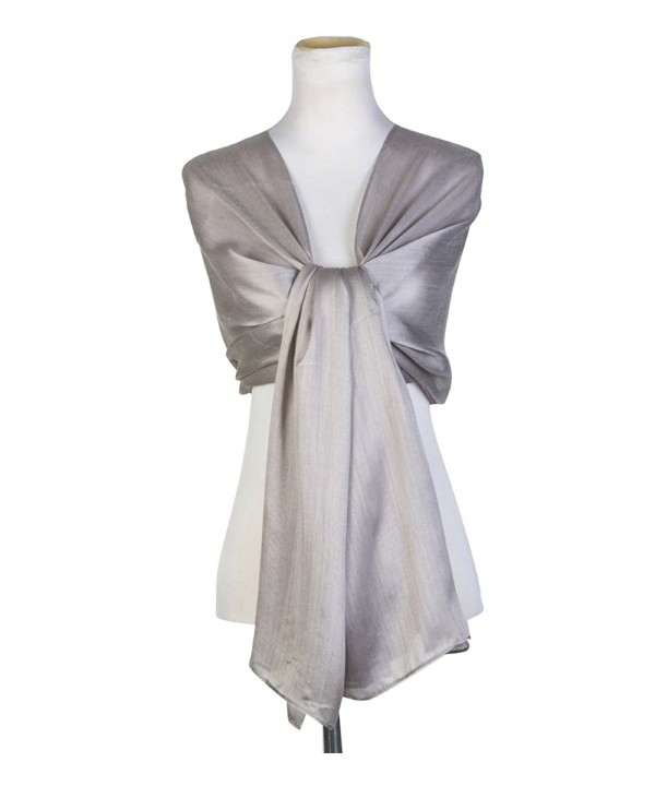 World of Shawls Silky Iridescent Scarf Maxi Wrap Stole Wedding Bridal Party Prom - Silver - C212JB9DMOX
