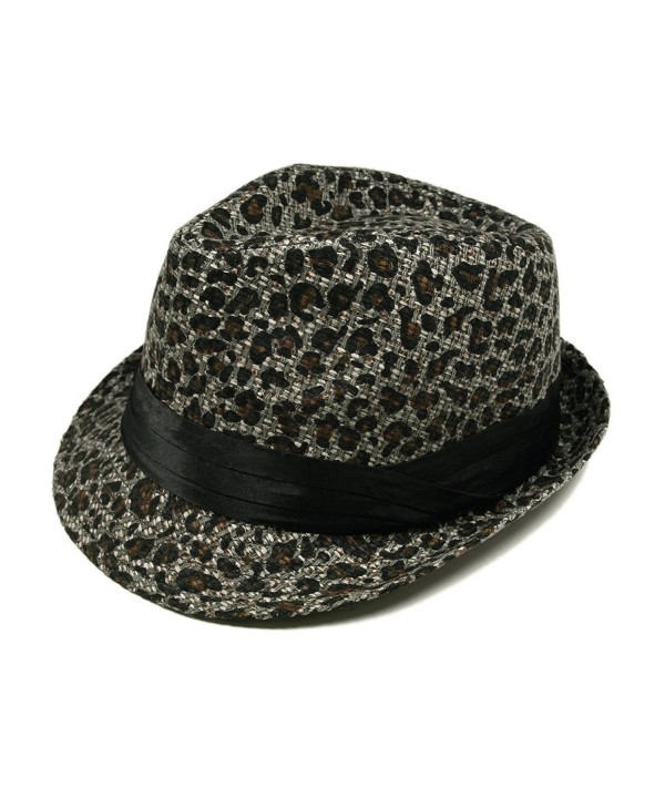 Gray & Black Leopard Cheetah Print Black Band Fedora Straw Hat - CG110VSSQ6N