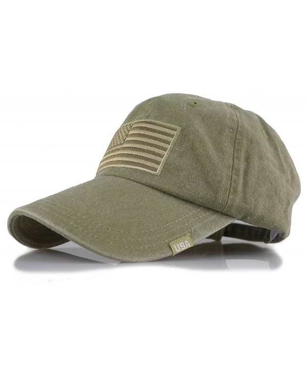 Baseball USA Flag Embroidered Washed Cotton Trucker Distressed Vintage Adjustable Cap - Olive - CR182DL8MRU