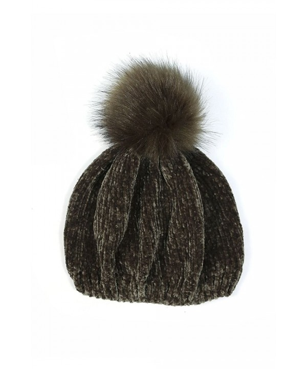 Womens Faux Fur Pom Pom Detail Winter Soft Chenille Beanie SBH-1955 - Olive - C0186AYGH5H