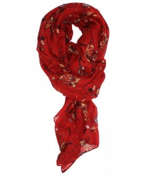 Ted and Jack - Wise Owl in a Tree Print Scarf - Red - C612C4BNZ9H