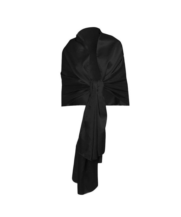 iEFiEL Women Versatile Bridal Evening Dress Satin Shawl Elegant Wrap Scarf - Black - CC184WNSIYR