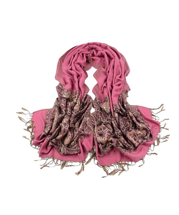 "Win8Fong Women Fashion Cashmere 78"" X 28"" Long Soft Solid Pashmina Shawl Wrap Stole Scarf - Pink - CV11QZ14AQ9"