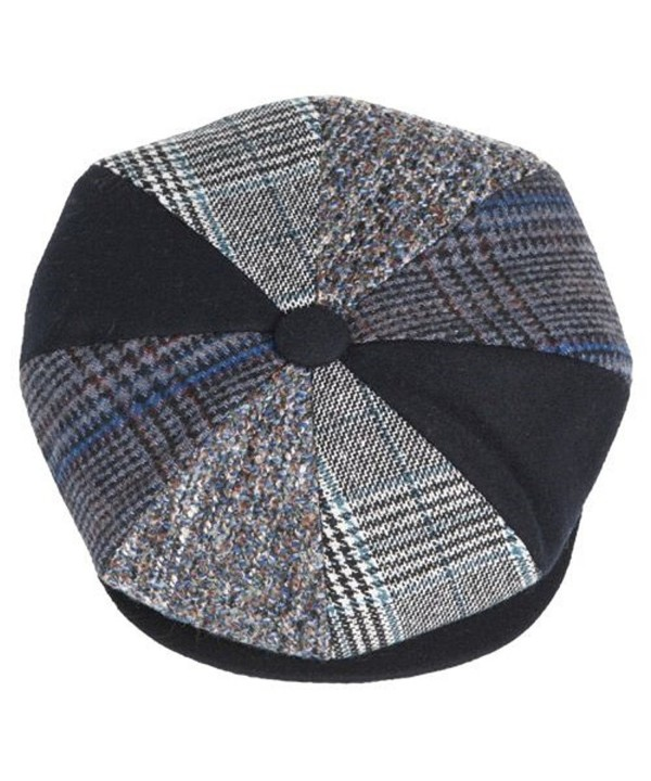 Mens Patchwork Wool Big Apple Duckbill Ivy Newsboy Irish Tweed Cap Hat Navy - CR128AF7HUD