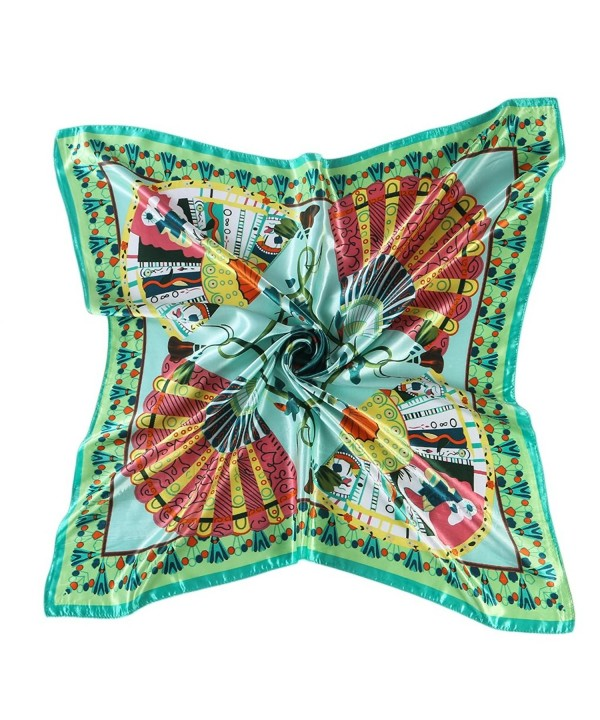 "CS&BEAUTY Women's Neckerchief 35""X35"" Fan Pattern Square Scarf Headdress - Green - CQ12O0K3JSH"