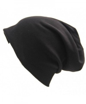 Century Star Unisex Comfy Cotton Beanies Soft Sleep Cap For Hairloss Cancer Chemo - Black - C512LXK6Q2X