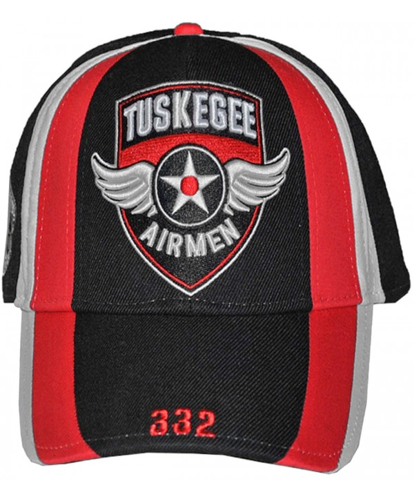 TUSKEGEE AIRMEN RED TAILS HAT 332ND AIR FORCE BLACK HISTORY CAP - TUSKEGEE Wings Red Blk Wht - CA129SHLVTV