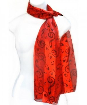 Imagine If... Silk Feel Scarf - Music Notes in G-Clef - Notes in G-clef - Black on Red - CT12DS0SH8R