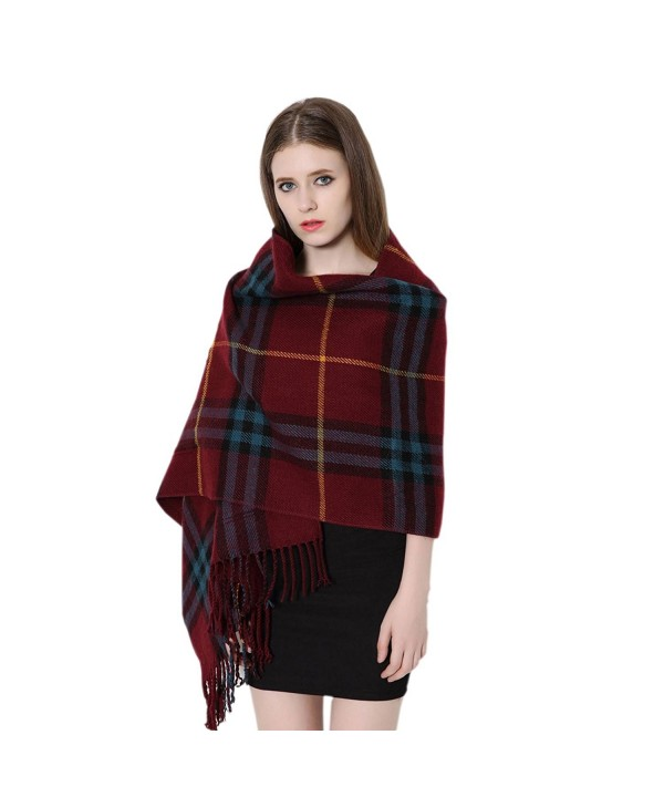 JOLIN Classic Lattices Women Girls Shawl Scarves Wraps Pashminas for Winter & Autumn (Wine) - C912N2WDFS2