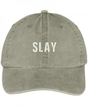 Trendy Apparel Shop Slay Embroidered Cotton Adjustable Washed Cap - Khaki - CK12N0JWNE3