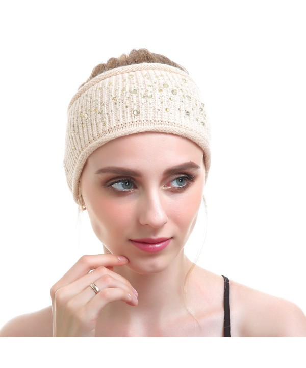 Women Knit Headband - Sport Wool Headbands Cashmere Yoga Headwear Head Wrap Ear Warmer - Beige - CP187CL0C32