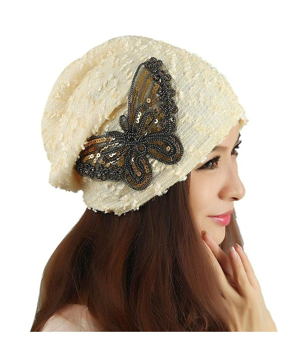 MiyaChic Women's Winter Hat Lace Butterfly Beanie Caps Lady Skullies Turban Cap - Beige - CH1884RSHC7