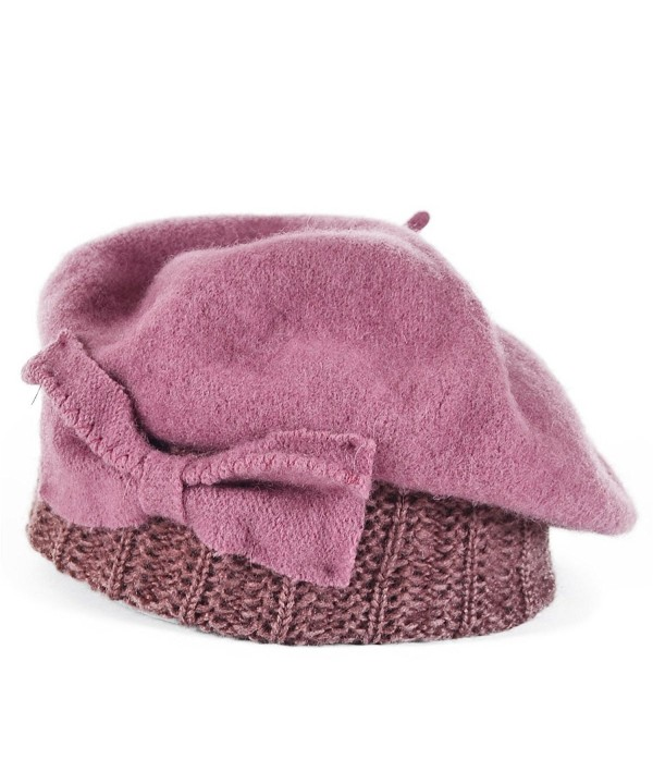 Stylish Wool Bow Beret Knit Cap Pink Hy022 - CF1224ANUVP