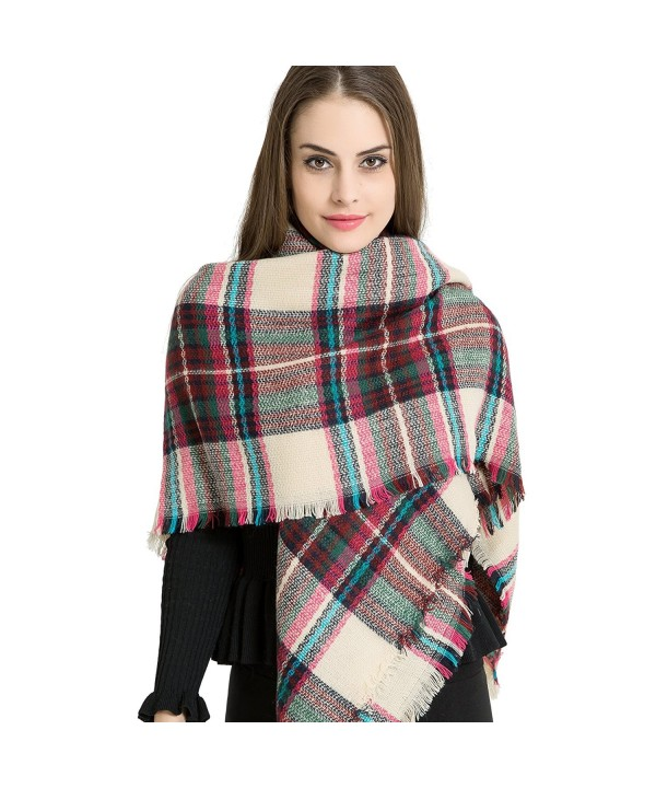 Marvel O Bug Warm Plaid Fashion Women Oversized Fringe Scarf Blanket Shawl Wraps Poncho Pashminas S139 - Burgundy - C51878GC4TM